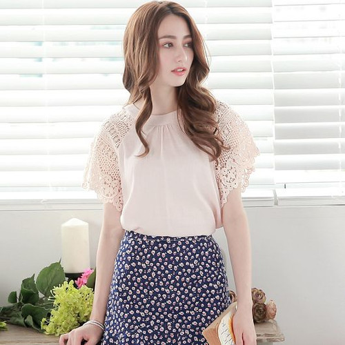 Hollow Lace Sleeve Top