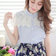 Lace Stitching Short Sleeve Shirt