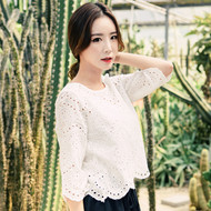 Petal Hem Embroidered Blouse