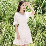 White V Neck Lace Dress