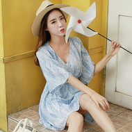 Blue Umbrella Sleeve V-Neck Dress