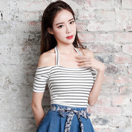 Strapless Striped Knit Top