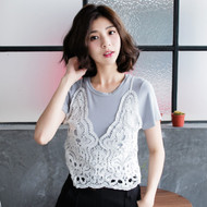 Fake Two Pieces Lace Top