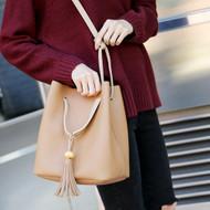 Tasseled Leatherette Shoulder Bag