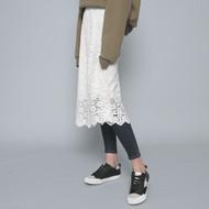 Sunflower Lace Print Midi Skirt