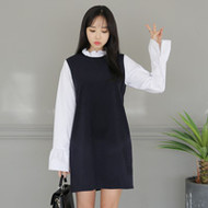Mock Layered Pinafore Dress