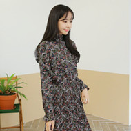 Floral Print Shirred Waist Dress