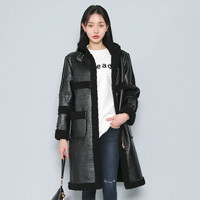 Fleece-Lined Faux Leather Coat
