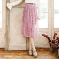 Flower Lace Pleated Skirt