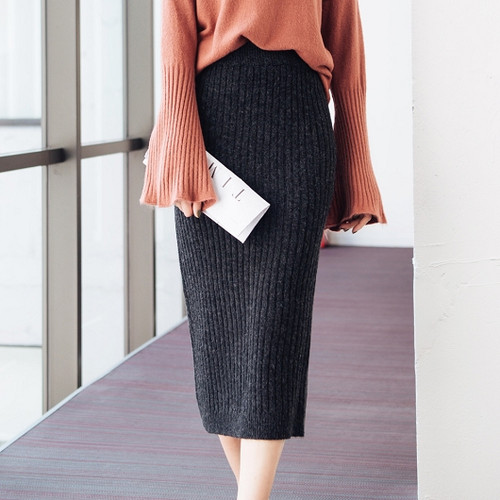 Fit Straight Ribbed Skirt