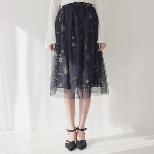 Floral Waist Elastic Skirt