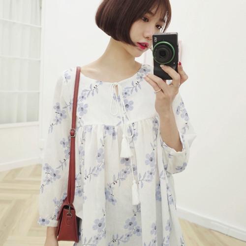 Flowers Tassel Long Sleeve Shirt