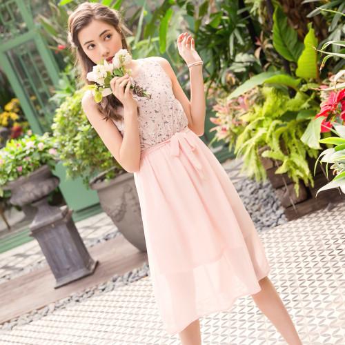 Flower Print Waist Dress