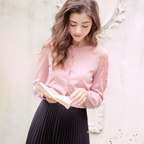 Lace Stitching Knitted Jacket