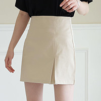 Single-Pleated Front Slim-Fit Skirt