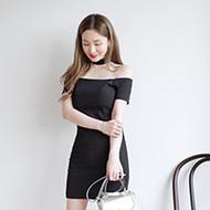 Choker Neck Off-Shoulder Dress