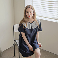 Rib-Collared T-Shirt Dress