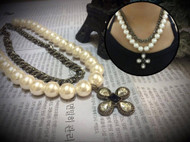 Layered Pearl and Chain Necklace with Crystal Flower