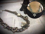 Thick Chain Pearl and Crystal Necklace