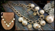 Doubled Layered Gold Chain with Pearl Necklace
