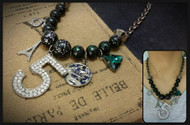 Black Beads Necklace with Charms