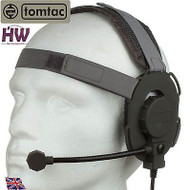AIRSOFT TOMTAC BOWMAN EVO III 3 HEADSET BOOM MIC GREY GREEN HELMET RADIO UK