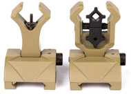 AIRSOFT FRONT BACK FLIPUP SIGHTS  IRON SIGHT TAN DE FLIP UP DIAMOND TROY STYLE