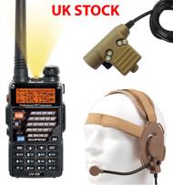 AIRSOFT 2 WAY DUAL BAND RADIO BAOFENG UV-5R + HEADSET + PTT SWITCH SET KIT TAN
