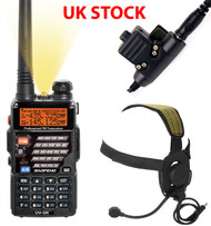 AIRSOFT 2 WAY DUAL BAND RADIO BAOFENG UV-5R + HEADSET + PTT SWITCH SET KIT BLACK