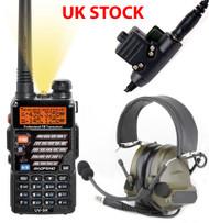 AIRSOFT 2 WAY RADIO GIFT SET KIT BAOFENG UV-5R HEADSET PELTOR SORDIN COMTAC GREEN