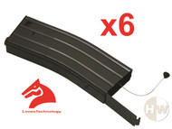 AIRSOFT M4 M16 SCAR METAL BLACK LONEX FLASH MAGAZINE MAG 360RDS ASG x6 PULL CORD