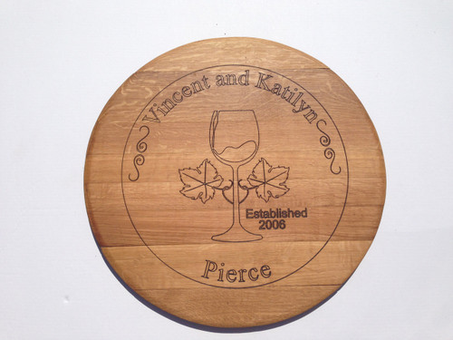 Laser engraved wine barrel top Wine glass and heart leaves