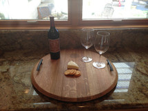 Wine Barrel Top Serving Tray
