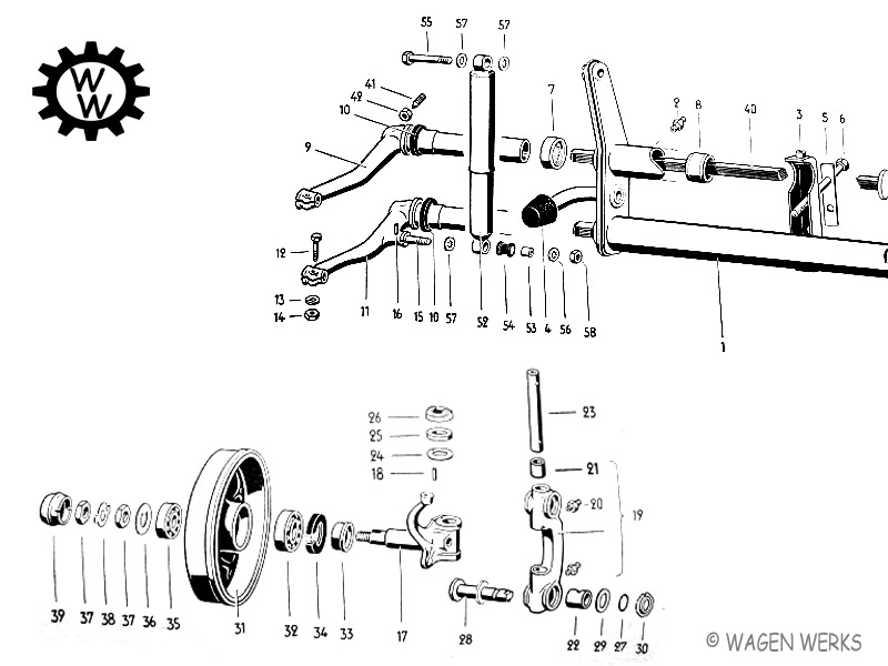 vw swing axle transmission diagram