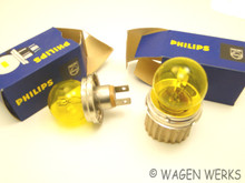 Headlight Bulbs - Euro Yellow 6 volt - NOS