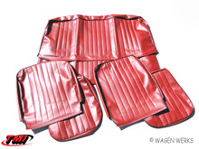 Seat Covers- Bug Sedan 1956 to 1964 - Front & Rear Red w/Blk Welt