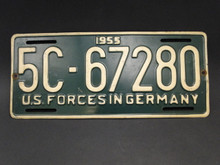 License Plate - US Forces in Germany 1955 - Vintage