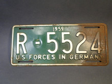License Plate - US Forces in Germany 1959 R5524 - Vintage
