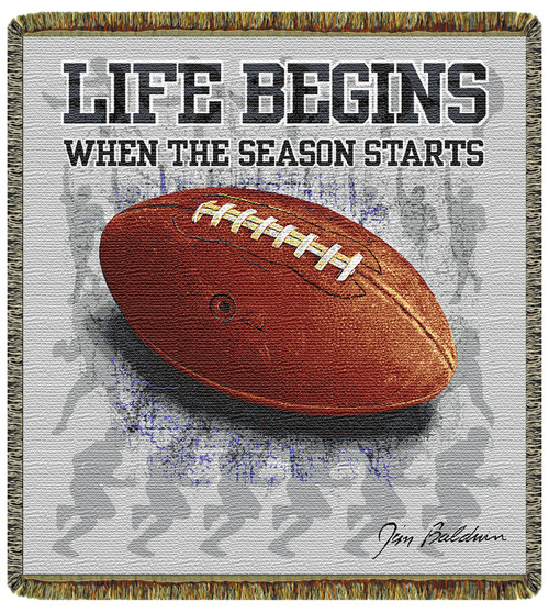 Life begins, football season tapestry throw blanket-sports collectible