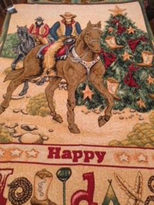 The perfect throw blanket for a western Christmas, colorful tapestry, horses, cowboys-Happy holidays