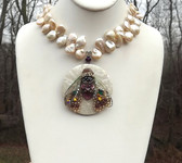 JEWELED CICADA NECKLACE PEARL PINK BAROQUE KESHI PEARLS VINTAGE MOP PENDANT