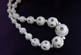 Vintage Galalith Necklace Art Deco Moderne Cubism Inspired Carved Beads
