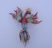 Marcel Boucher Bird of Paradise Guilloche Enamel Brooch Vintage 1960s