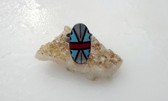 Zuni Handmade Sterling Silver Multi Color Stone Inlay Ring
