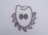 Vintage JULIANA For HOBE AB Molded Art Glass & Rhinestones Necklace Earring Set