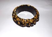 """Rare Deeply CARVED BAKELITE Bangle Bracelet 1"""" WIDE 2 Tone CASTING Estate Find"""