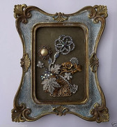 VINTAGE RHINESTONE JEWELRY FRAMED CHRISTMAS HOLIDAY or YEAR ROUND FLOWER BASKET
