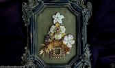 VINTAGE RHINESTONE JEWELRY FRAMED CHRISTMAS TREE Pearls Roses DECO ENAMEL Pansy