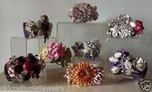 HAUTE COUTURE LUCITE BANGLE BRACELET~VTG ENAMEL FLOWERS~SHELL SEASHELL BUTTERFLY