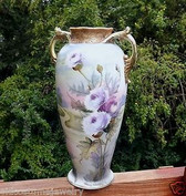 ANTIQUE NIPPON HAND PAINTED FINE PORCELAIN VASE~TS NIPPON~GOLD BEADING~THISTLES